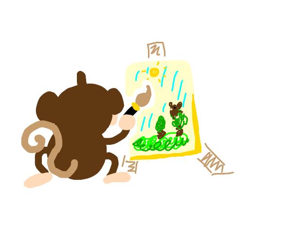 Monkey painting a masterpiece