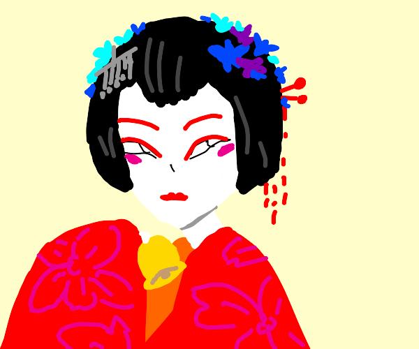 Geisha Holding a Bell