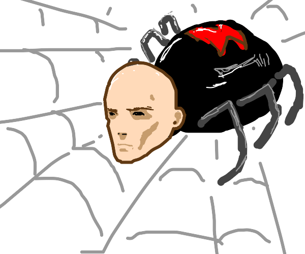 black widow spider with a human head