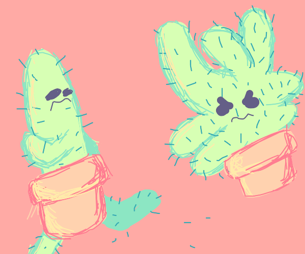 Fancy cactus runs from weird cactus