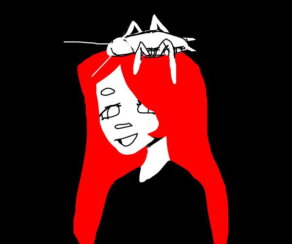Giant roach on a redhead's head