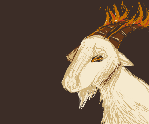 goat with fiery horns