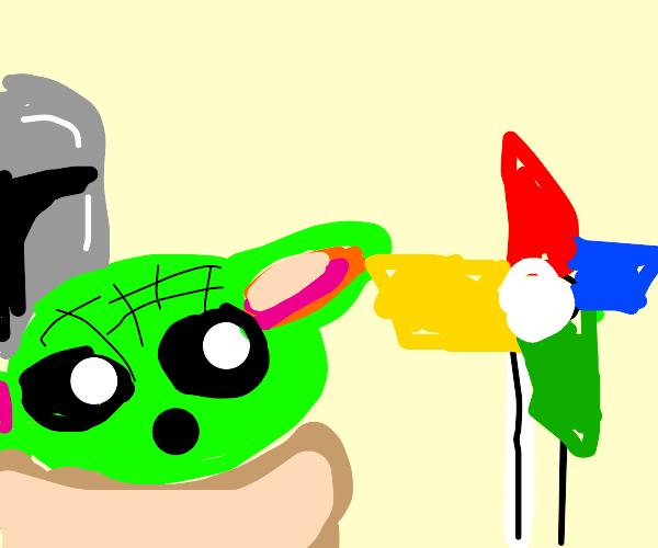 Alien is perplexed by the pinwheel
