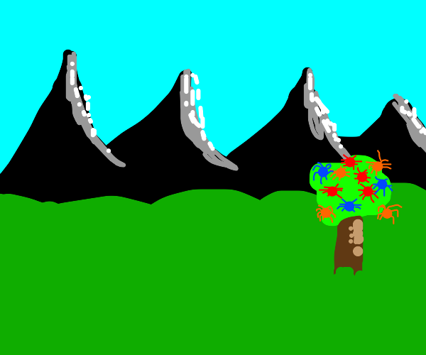mountain scene with colored spider tree