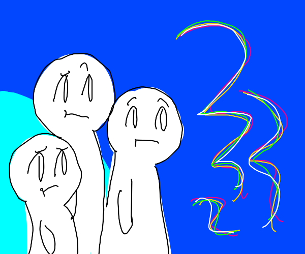 3 people standing in front of squiggles