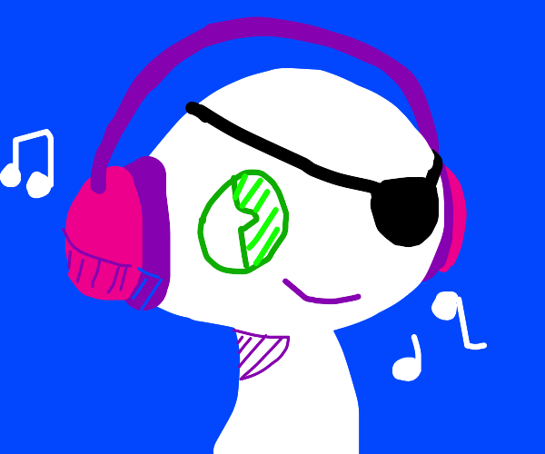 eye patch headphone man with green eyes