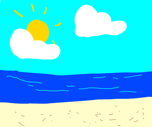 Sandy Shore on a Partly Cloudy Day