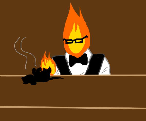 Bartender made of fire tapping a burnt rat