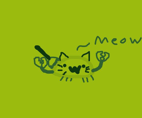 Half crab half cat w/a plunger on butt