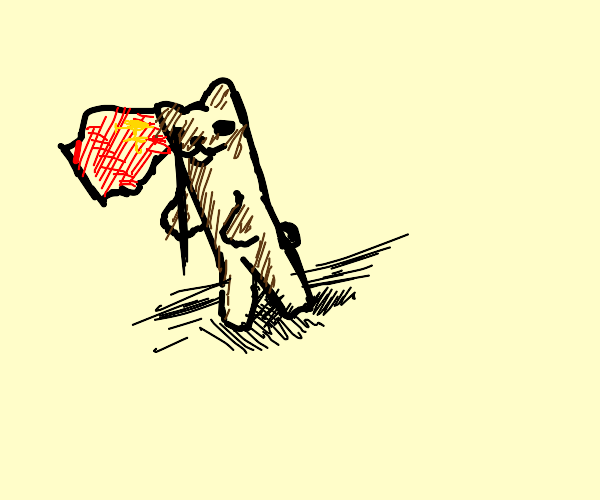 bear with a red flag