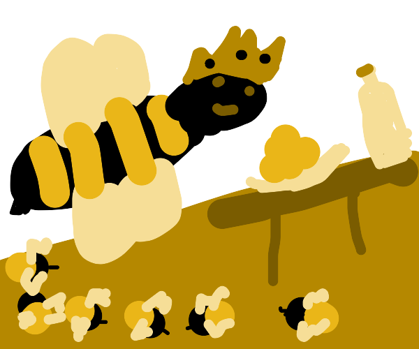 the queen bee goes to the snack area