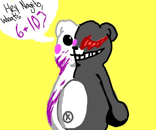 Danganronpa bear asks nagito what 6+10 is