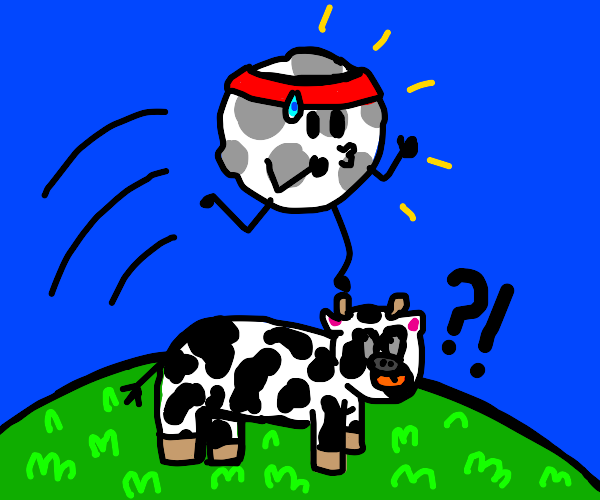 Moon jumping over a cow
