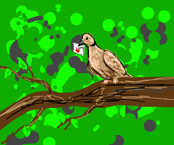 bird with love letter