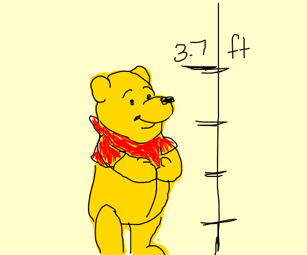 Pooh bear is only 3.7 feet