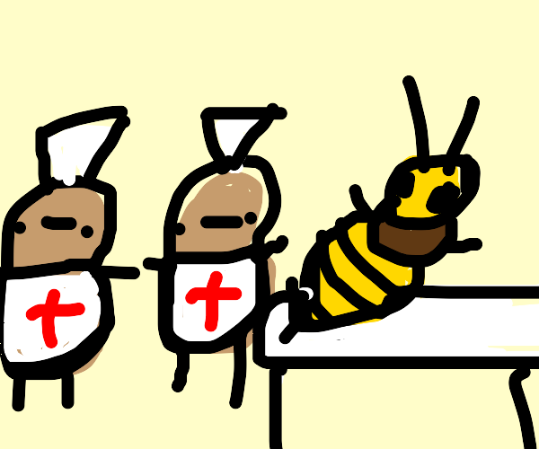 a team of potato-nurses operates on bumblebee