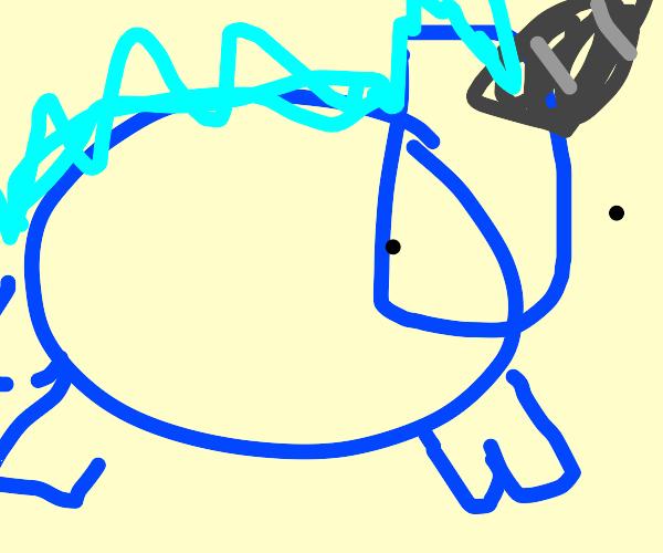 Chubby blue unicorn