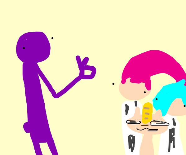 Purple man gives OK sign to Team Rocket