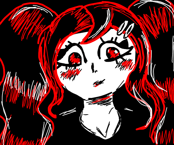 Blushing goth gal.