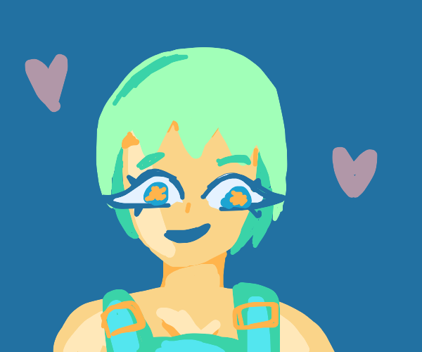cute green haired person