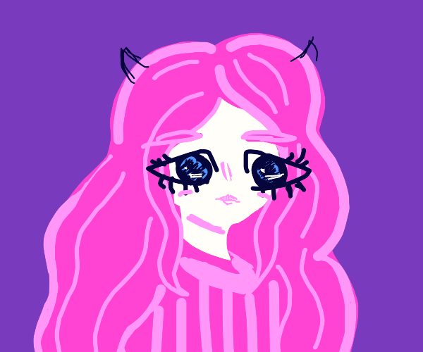 Pink devil girl with eyes not exactly on face