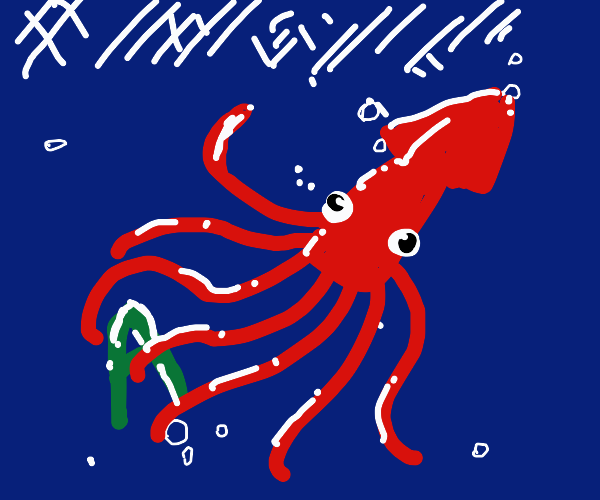angry squid attacking the letter A
