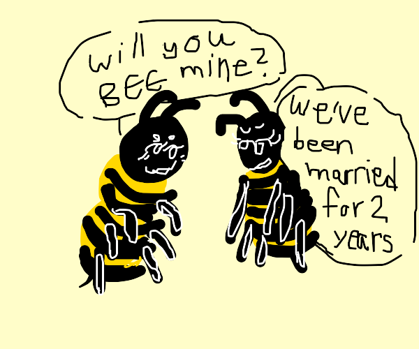 Bee couple making pun flirts