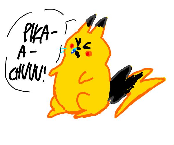 Pikachu sneezes