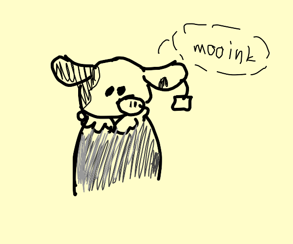 Pig/cow cross in a gray jacket w/an ear tag