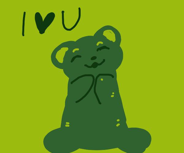 green teddy bear loves you