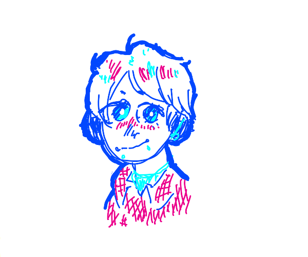 Cute blue and pink anime boy