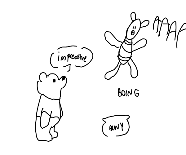 pooh is suprised piglet can jump over honey