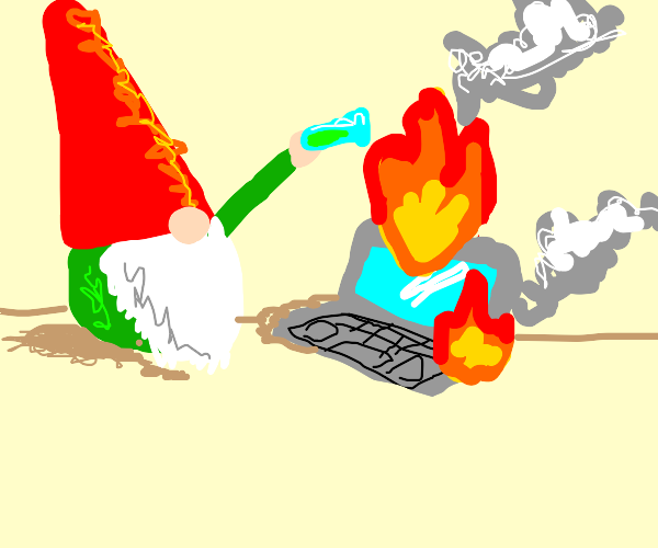 Gnome pouring acid on a burning laptop