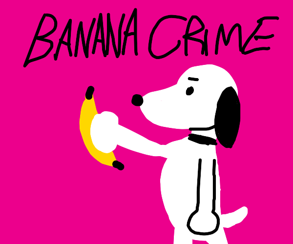 Snoopy is being a bad dog and steals a banana
