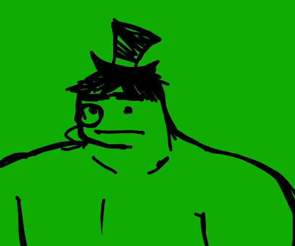 The Hulk wearing a monocle.