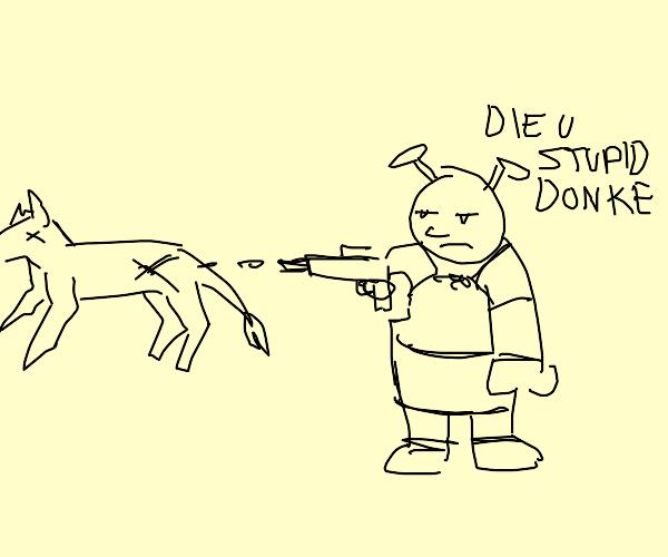 Shrek killing donkey