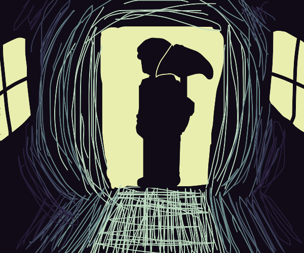 Old figure holding a umbrella inside.