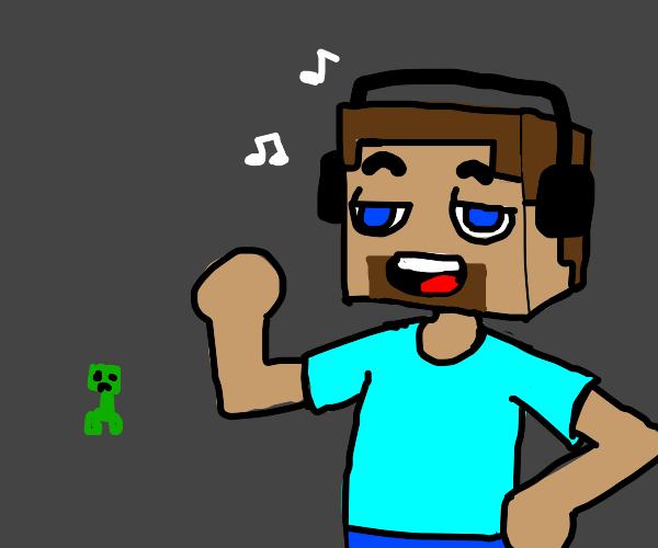 Steve listening to his mixtape