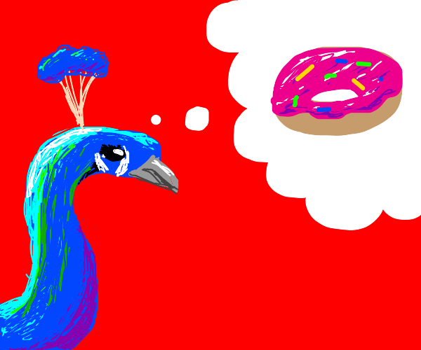 Peacock is dreaming about donuts