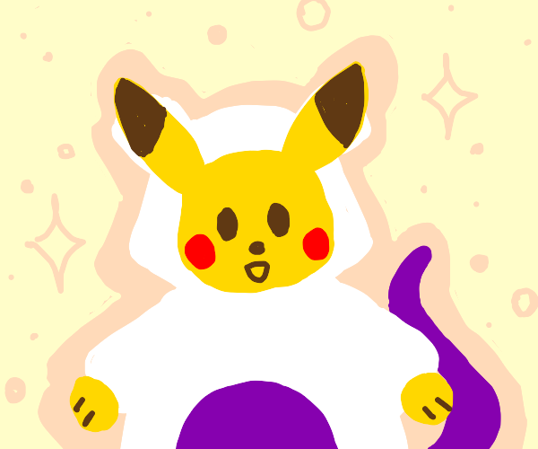 Pikachu wears a mewtwo costume