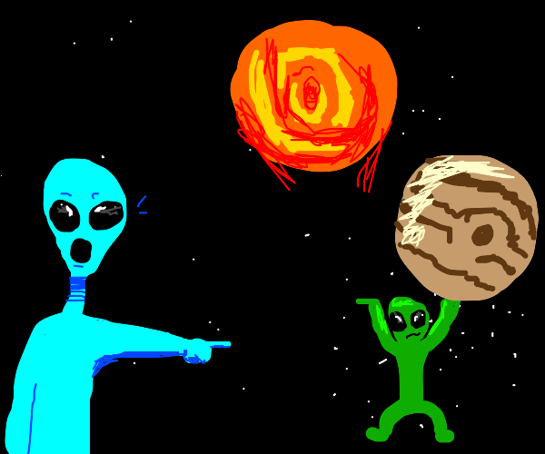 alien impressed by other aliens planet juggle