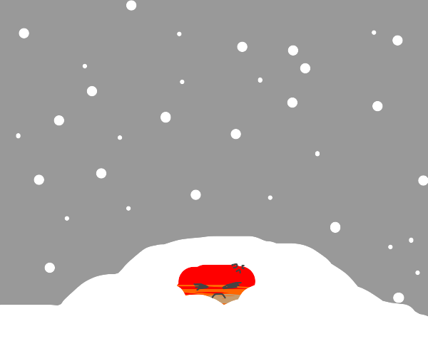 Angry person in snow