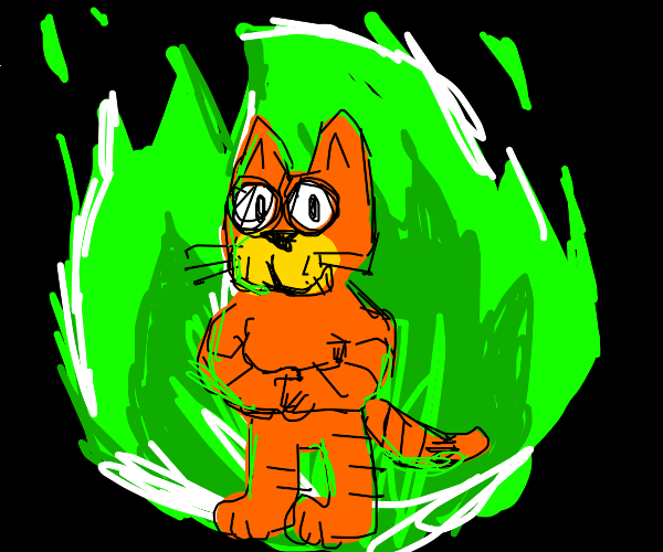 Garfield burns in the green fire with no fear