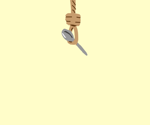 a spoon hanging itself