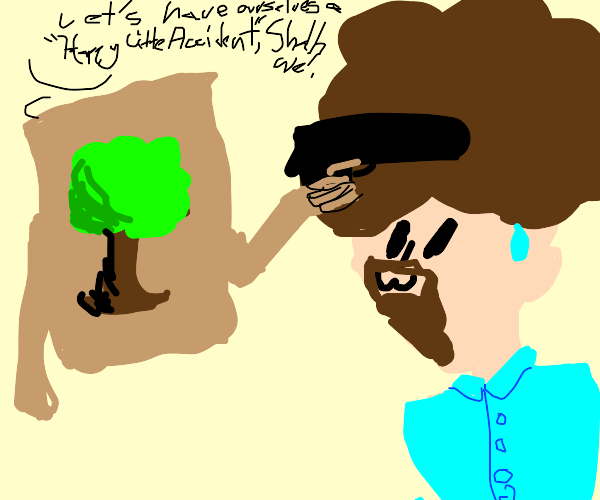 Painting holds Bob Ross at gunpoint