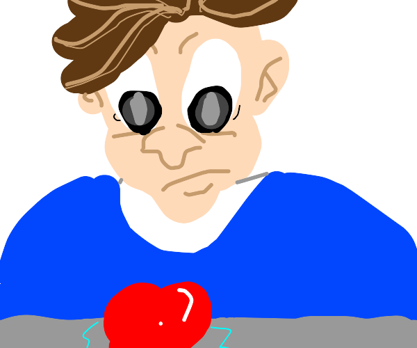 Man horrified seeing a heart