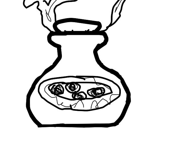 Rotten Black Pizza in a Bottle