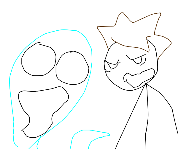 blue ghost scares someone with turd hair