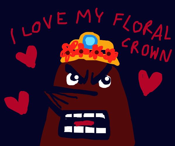 Resetti enjoys his flower crown angrily