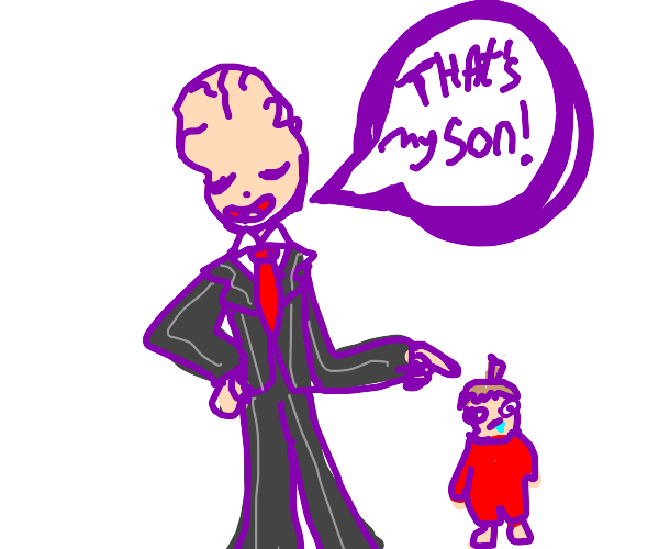 Big brained man has a pear shaped child
